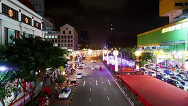 Medium Shot: Traffic In Chinatown, Singapore