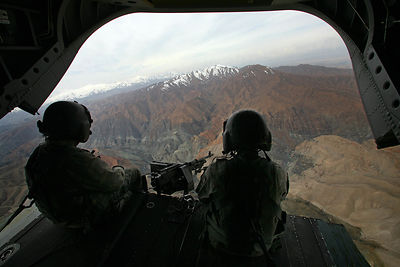 2009. Overview of the Kunar Valley aboard a Chinook helicopter from the 101 th Airborne Division.