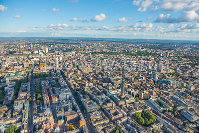 Aerial view of West End of London., A400, Centrepoint, Charlotte St, fitzrovia, Fitzroy Square Garden, london, Maple St, Tottenham Court Road.
