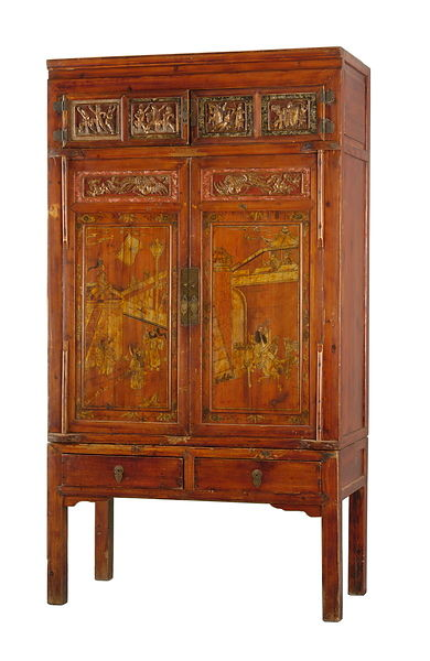 Square-cornered cabinet with both painted and carved panels.