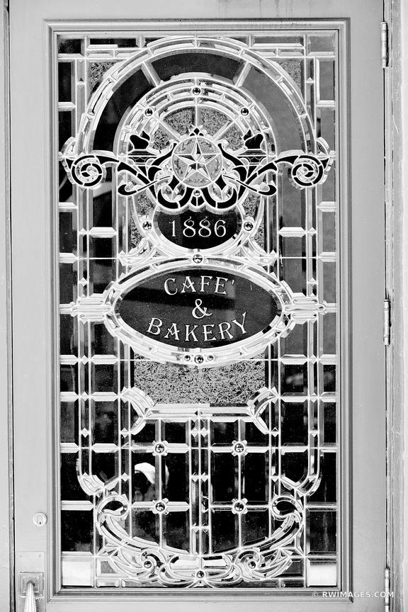 HISTORIC CAFE AND BAKERY DOOR DOWNTOWN AUSTIN TEXAS BLACK AND WHITE