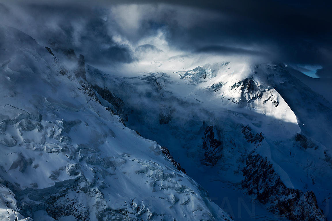 Ice, seracs, glacier, clouds and light on the north Face of Mont Blanc