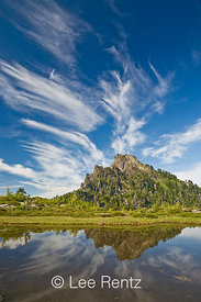 Mt. Forgotten and cirrus clouds viewed from a glacial tarn in Mt. Forgotten Meadows, Mt. Baker-Snoqualmie National Forest, Cascade Mountains, Washington, USA, August, 2008_WA_4619