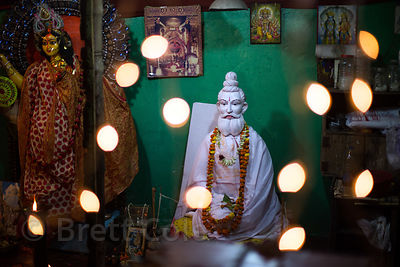 Hindu idol of Baba Lokenath in a temple, Dhakuria, Kolkata, India