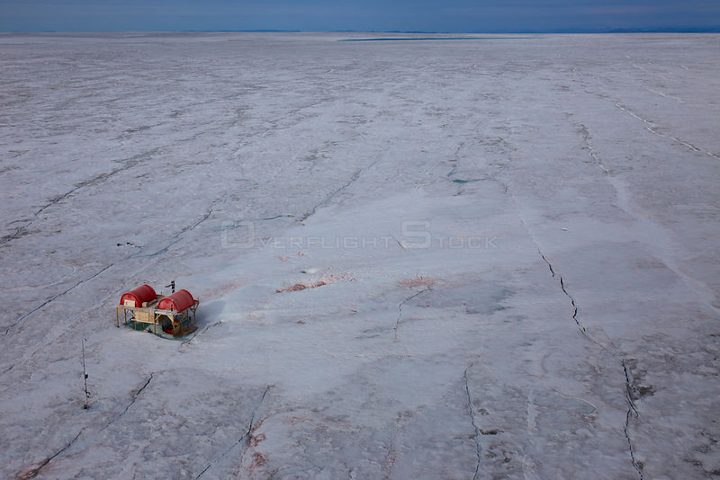 Aerial view of research site on the ice-cap, North East ofSermeq Kujalleq Glacier, Sermersuaq / Greenland ice sheet, Greenland , August 2014.