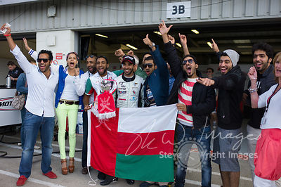 In the pit lane post-race with the Oman Racing Team. Winning driver Ahmad Al Harthy celebrates at the Silverstone 500 - the third round of the British GT Championship 2014 - 1st June 2014