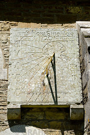 Sundial on wall of St Teilos Church, Merthyr Mawr, Bridgend, South Wales