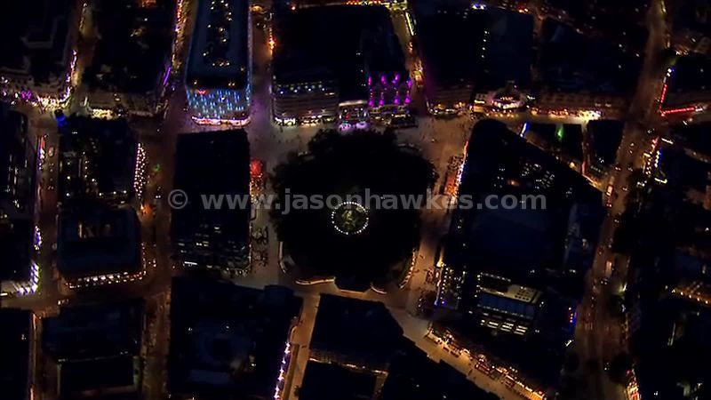 Aerial footage of Leicester Square