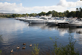 Boats at marina on Loch Lomond
