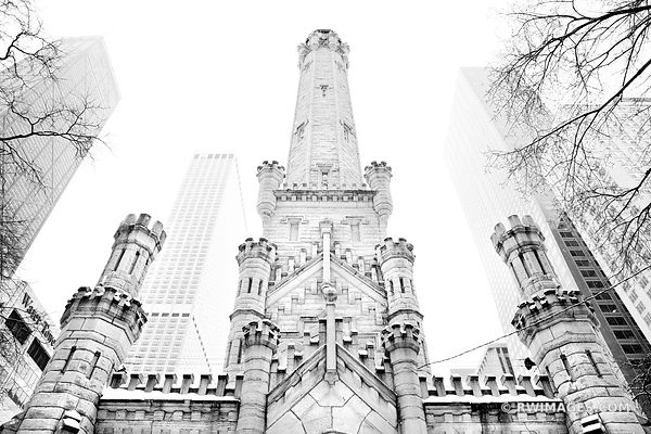 WATER TOWER MICHIGAN AVENUE WINTER DAY HEAVY SNOWFALL CHICAGO BLACK AND WHITE