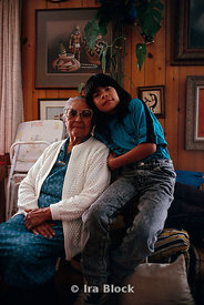 An native American with his grand mother, Santa Clara pueblo, NM