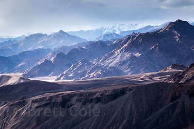 Purple Himalayas at dusk near Nimmu, Ladakh, India