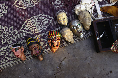 India - New Delhi - Puppet heads lie on the roof of a puppeteer in Shadipur