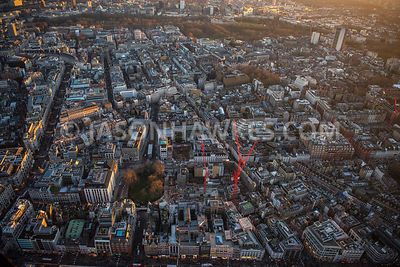 Aerial view of London, Mayfair, Regent Street with New Bond Street.