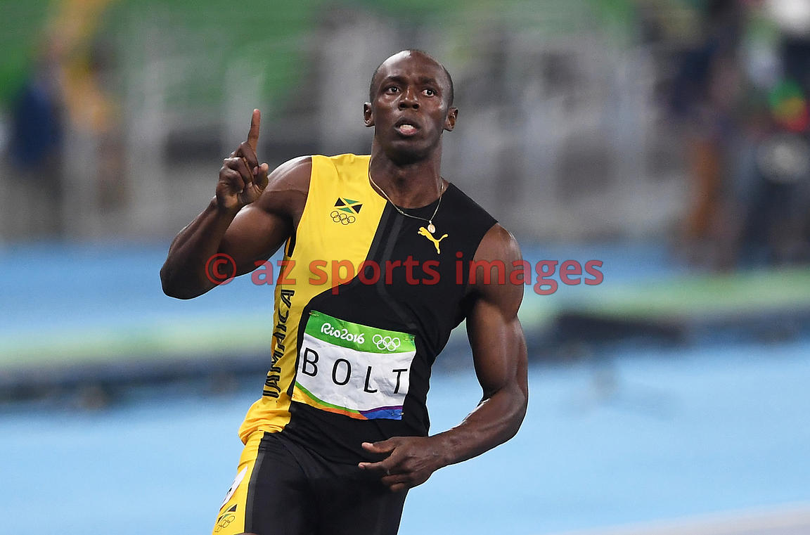 RIO DE JANEIRO, Brazil, AUGUST 13.# ATHLETICS. Usain Bolt wins the 100m gold medal. Usain Bolt ran 100m in 9.80 seconds, winning his third straight gold medal in the 100 Olympic event, something no runner has accomplished before. Photos angelos zymaras