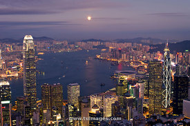 Full moon night of Victoria Harbour of Hong Kong