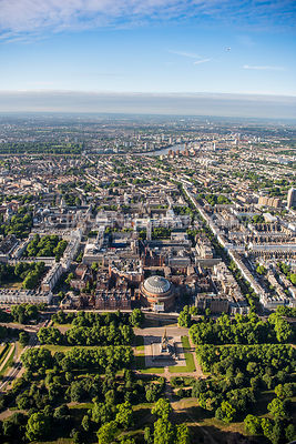 Aerial view of London, Exhibition Road and Queen's Gate, South Kensington.