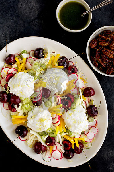 Cherry Burrata Salad served with Maple Pecans