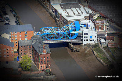 aerial photograph of the North Bridge  in Kingston upon Hull England UK