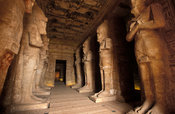 Abu Simbel, interior of the main temple with 8 Osiris pillars with features of Rameses II, Egypt