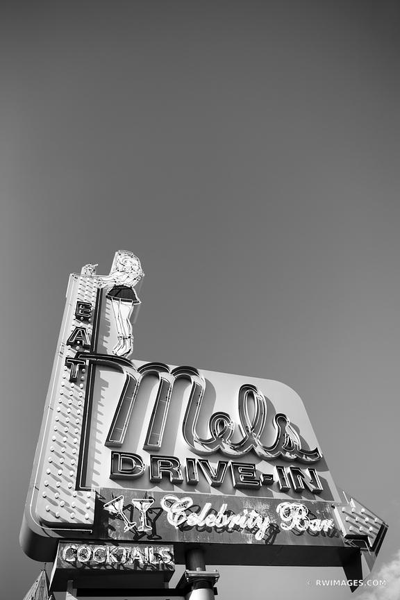 MELS DRIVE-IN VINTAGE NEON SIGN HOLLYWOOD CALIFORNIA BLACK AND WHITE