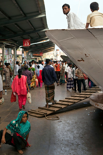 Bangladesh - Dhaka - Passengers wait on a ferry at the Sadarghat Ferry Terminal