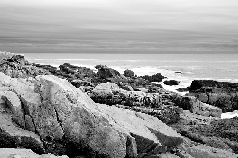 ROCKY COASTLINE ACADIA NATIONAL PARK MAINE BLACK AND WHITE