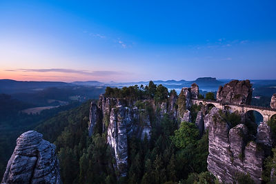 Bastei birdge at dawn Elbsandsteingebirge, Saxony, Germany