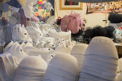 Blank white Venice Carnival mask mouldings waiting to be painted