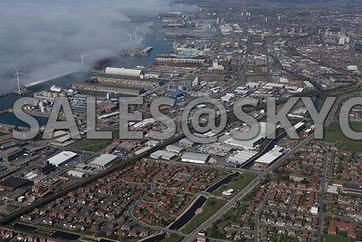 Weather fog and low cloud Liverpool Aerial photographs