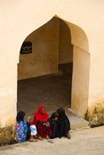 Muslim women in the old fort, Lamu, Lamu Archipelago, Kenya