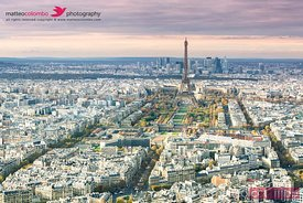 Aerial view of Paris city with Eiffel tower at sunset, France