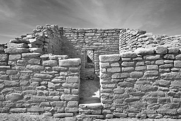 FAR VIEW HOUSE RUINS CHAPIN MESA MESA VERDE NATIONAL PARK COLORADO BLACK AND WHITE