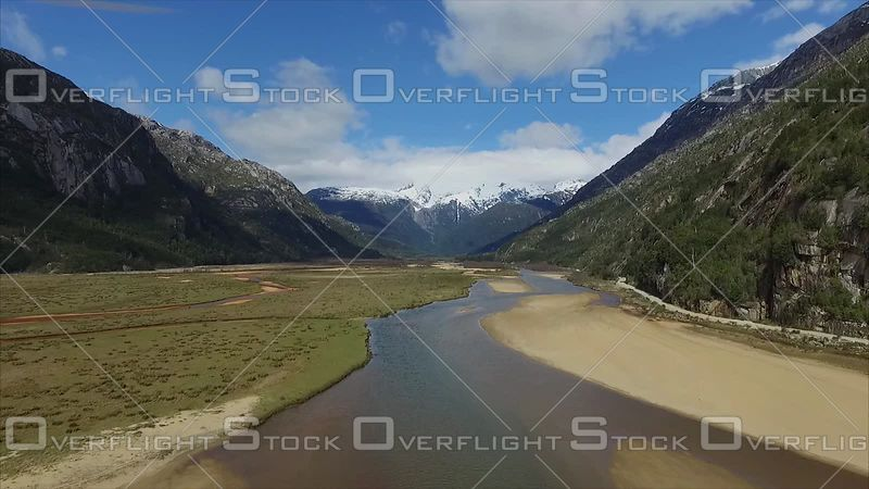 River and Mountains Scenic Patagonia South America