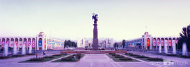 Bishkek's central square at sunset.