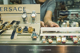 Designer watches on display window