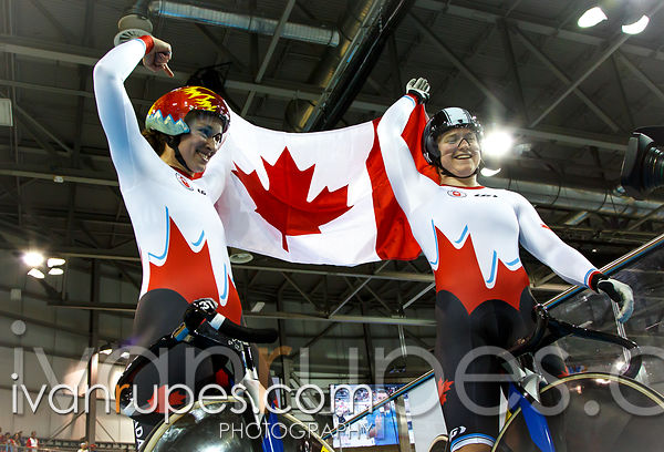 Women's Team Sprint Finals, Track Day 1, Toronto 2015 Pan Am Games, Milton Pan Am/Parapan Am Velodrome, Milton, On; July 16, 2015