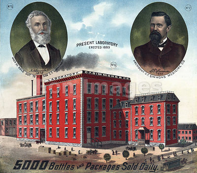 Founders and building of CF Simmons Medicine Company in 1880s