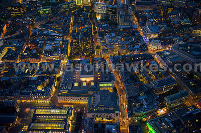Aerial view of Covent Garden at night, London