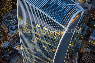 Close-up of 20 Fenchurch Street at night