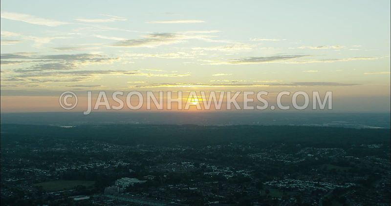 London Aerial Footage of sunset