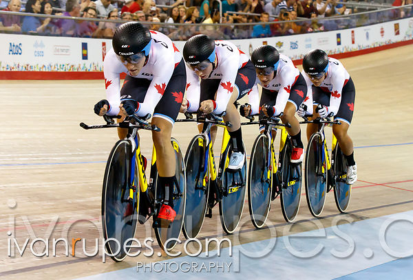Team Canada at Women's Team Pursuit Qualification, Track Day 1, Toronto 2015 Pan Am Games, Milton Pan Am/Parapan Am Velodrome, Milton, On; July 16, 2015