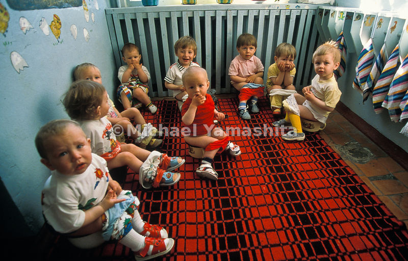 Communal toilet training gathers toddlers at a Paramushir nursery school. Most of their parents work on fishing boats and processing plants.