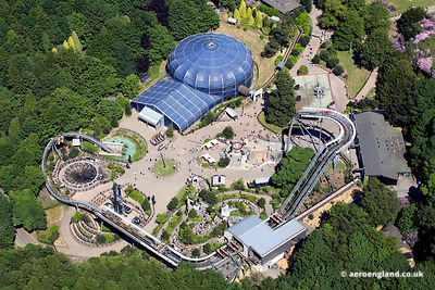 aerial photograph of  the  Alton Towers Staffordshire  England UK