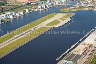 Royal Albert Dock, aerial view, City airport, London.