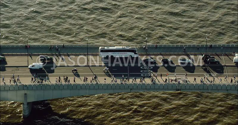 London Aerial Footage of traffic on London Bridge
