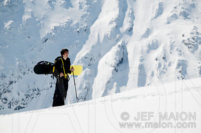 Young man and snowboard