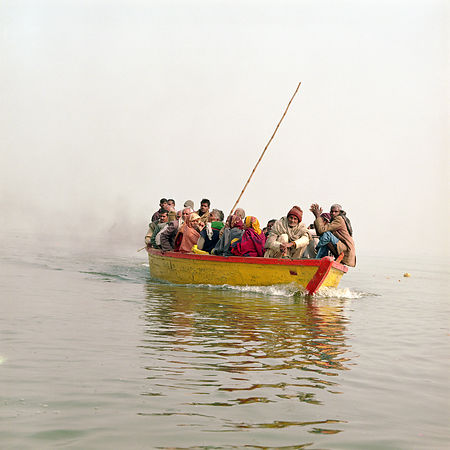 People in a boat in india
