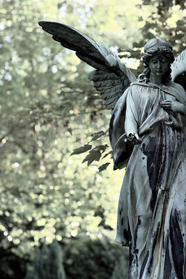 Old Worn Angel Statue in Forest..Digital processing with fine film grain added