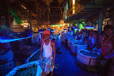 Vegetables under blue lights in the Kole wholesale veg market in Bowbazar, Kolkata, India. Different colored lights are used to make different veggies look better. Kole is one of the largest veg markets in the world.